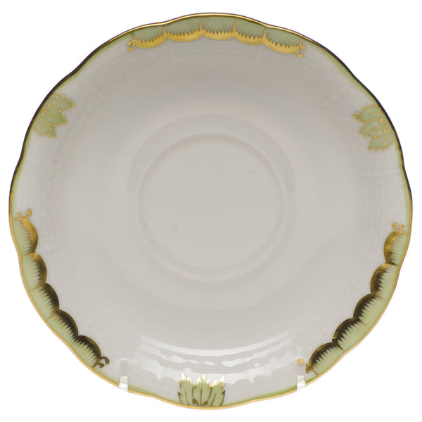 "Herend Princess Victoria Tea Saucer, Green 6""D"