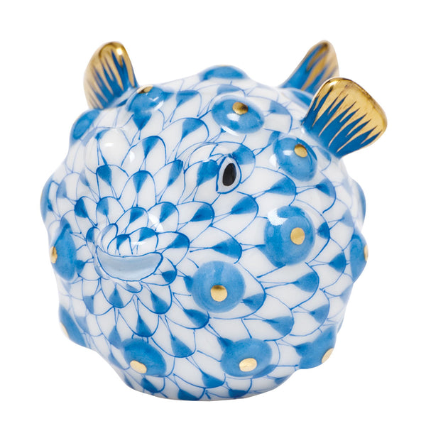 Herend Puffer Fish, Blue