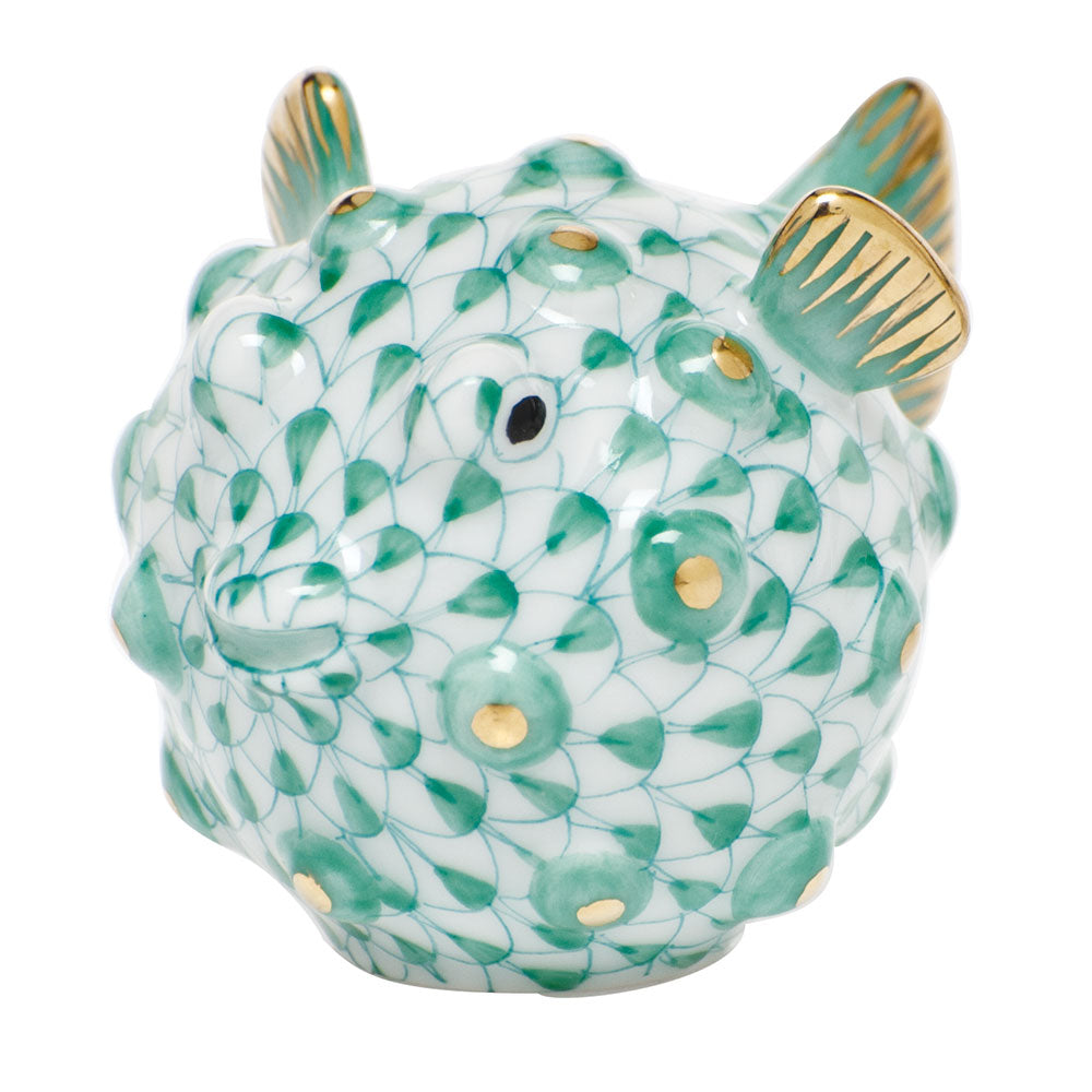 Herend Puffer Fish, Green
