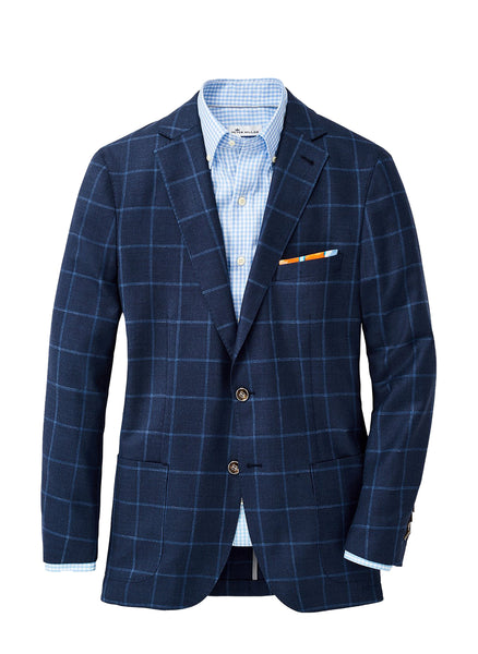 Peter Millar Crown Windowpane Soft Jacket, Navy