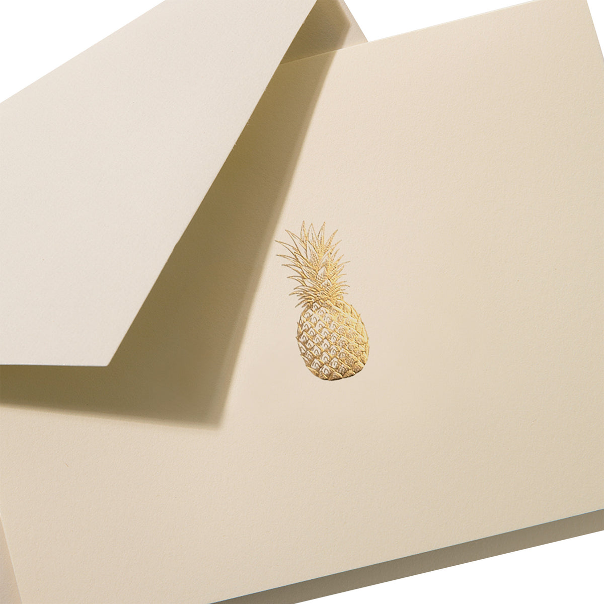 Crane - Gold Pineapple Classic Note with Gold Lining, Set of 10