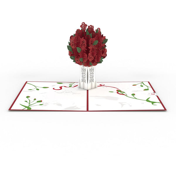 Pop Up Card, Red Rose Bouquet