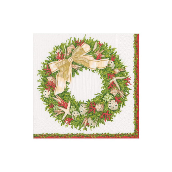 Shell Wreath Ivory Cocktail Napkins