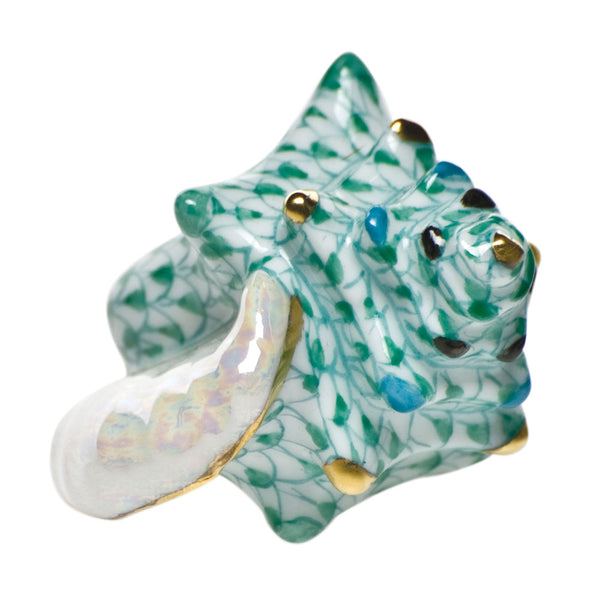 Herend Small Conch Shell, Green