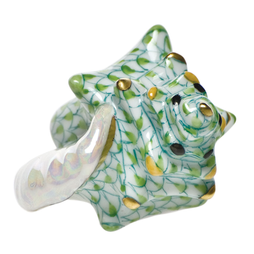 Herend Small Conch Shell, Key Lime Green