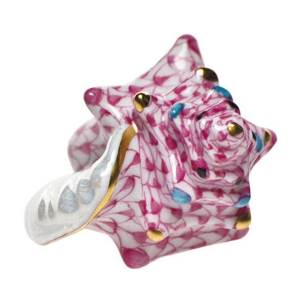 Herend Small Conch Shell, Raspberry Pink