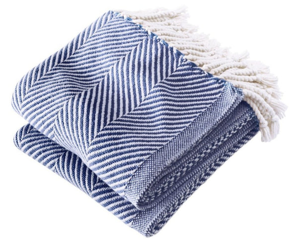 Brahms Mount Monhegan Throw Soft White/Navy