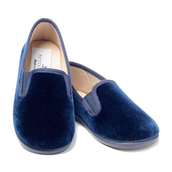 Boys Navy Gable Velvet Slipper