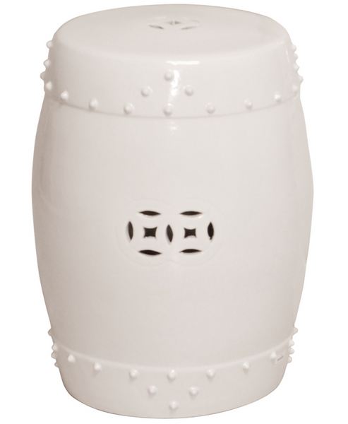 Drum Garden Stool, White