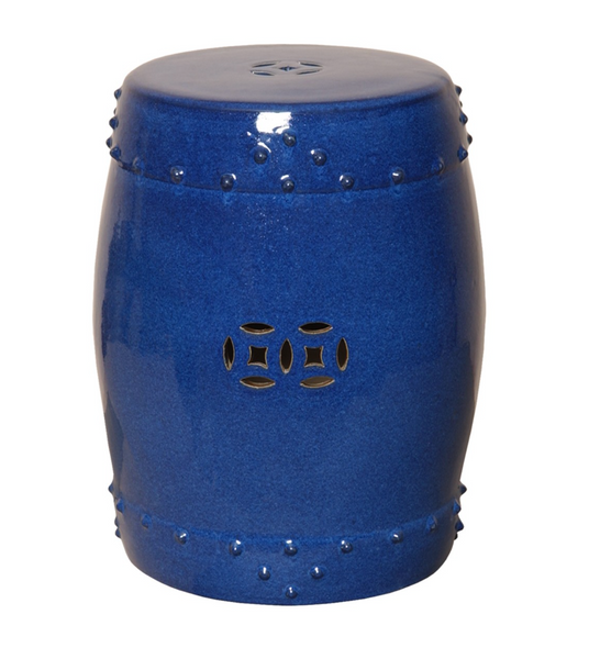 Drum Garden Stool, Blue