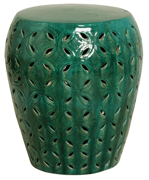 Large Lattice Stool, Green