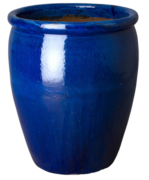 Large Rimmed Round Glaze Pot, Blue