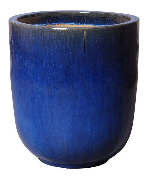 Large Round Glaze Pot, Blue