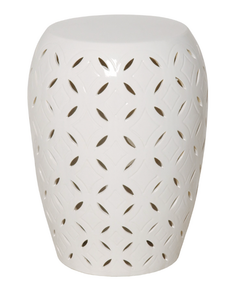 Lattice Garden Stool, White