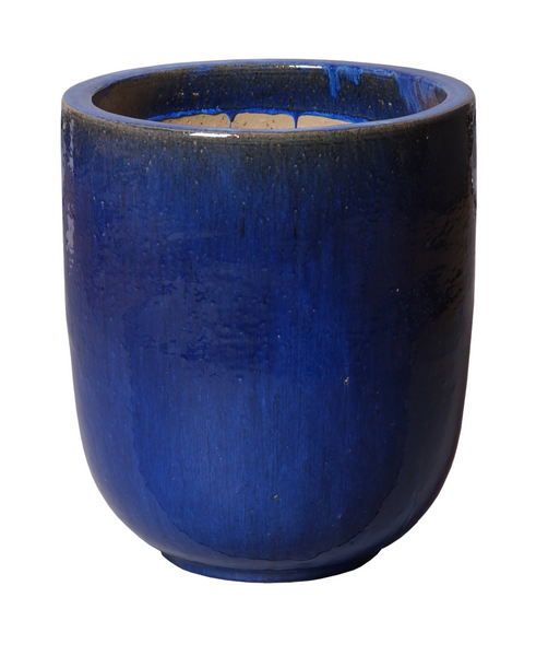 Small Round Glaze Pot, Blue