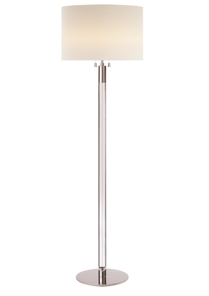 Riga Floor Lamp, Polished Nickel and Clear Glass