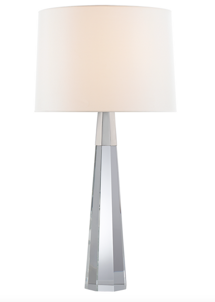 Olsen Table Lamp, Crystal and Polished Nickel