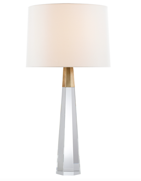Olsen Table Lamp, Crystal and Antique Brass