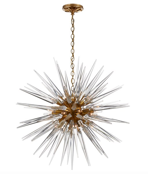 Quincy Medium Sputnik Chandelier, Antique-Burnished Brass with Clear Acrylic