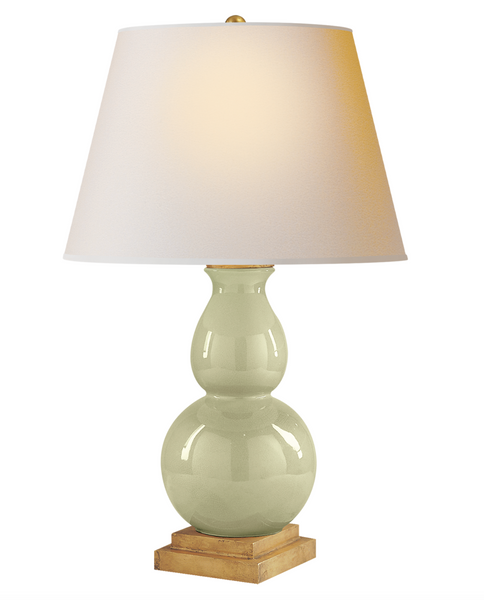 Gourd Form Small Table Lamp, Celadon Crackle