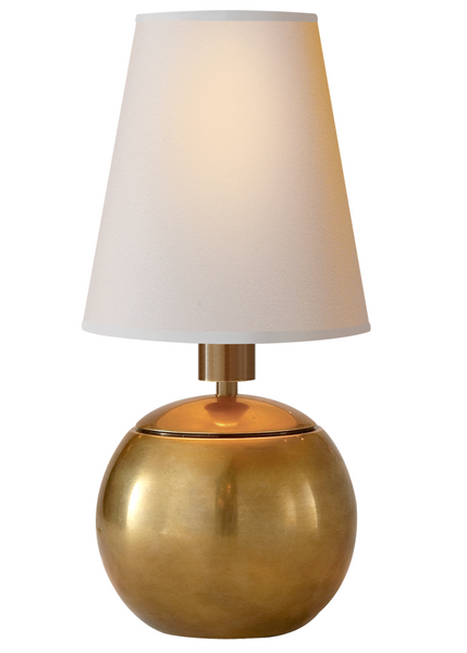 Terri Tiny Round Accent Lamp, Antique Brass