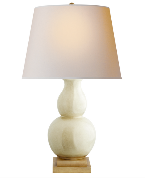 Gourd Form Large Table Lamp, Tea Stain Crackle