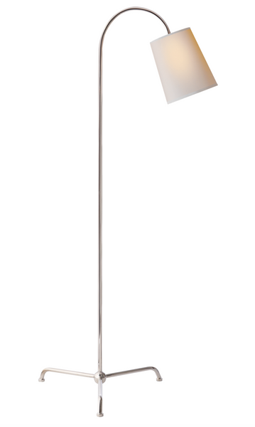 Mia Floor Lamp in Polished Nickel with Natural Paper Shade