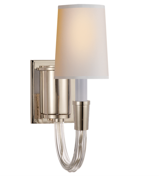 Vivian Single Sconce in Polished Nickel