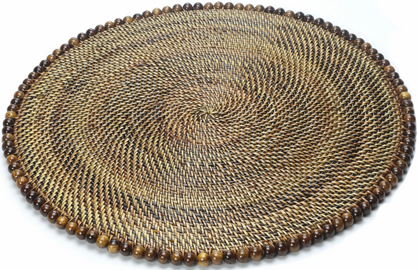 Round Placemat with Beads, Dark Walnut