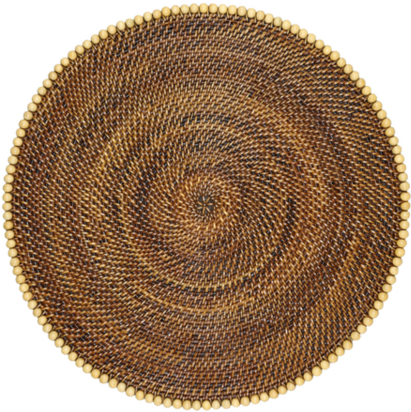 Round Placemat with Beads, Natural