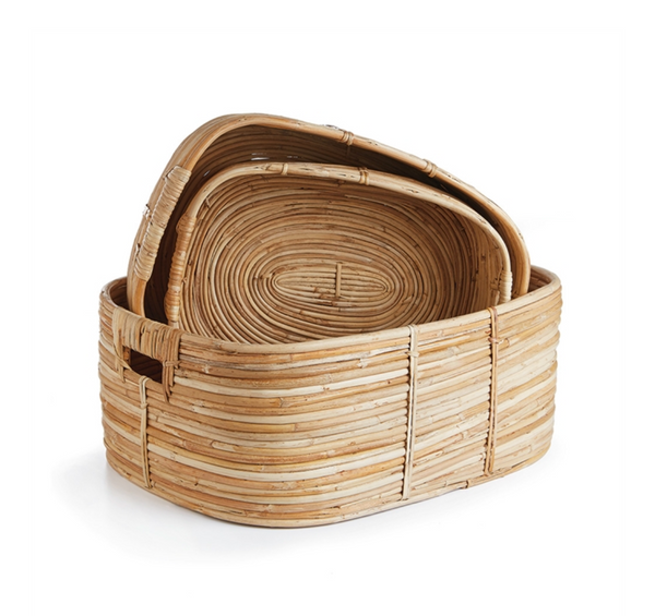 cane rattan rectangular baskets with handles