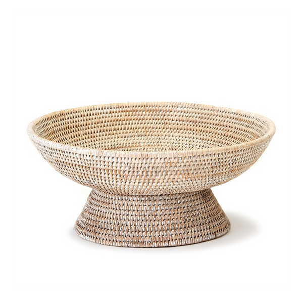 burma whitewash rattan footed offering bowl