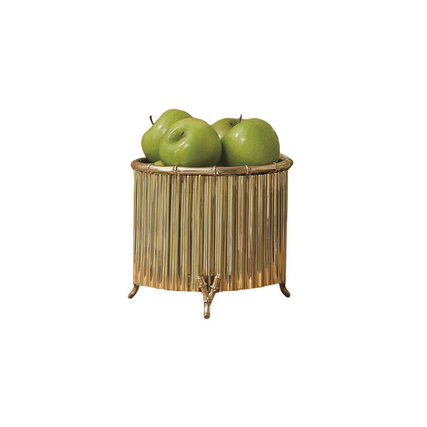 Corrugated Bamboo Cachepot - Brass, Small