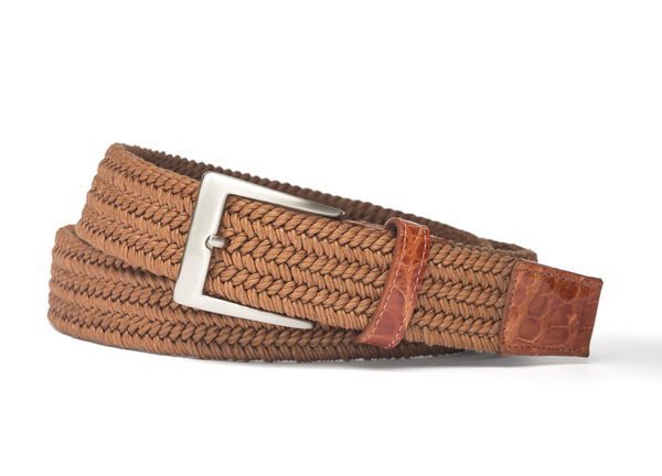 W. Kleinberg Men's Solid Stretch Belt with Croc Tabs