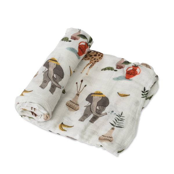Little Unicorn Safari Social Deluxe Muslin Swaddle