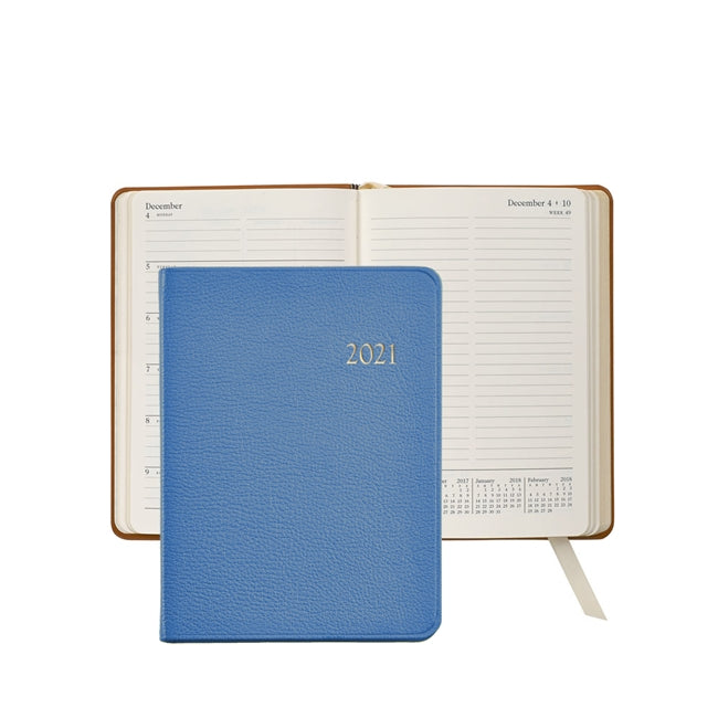 Graphic Image 2021 Weekly Journal, Light Blue Leather
