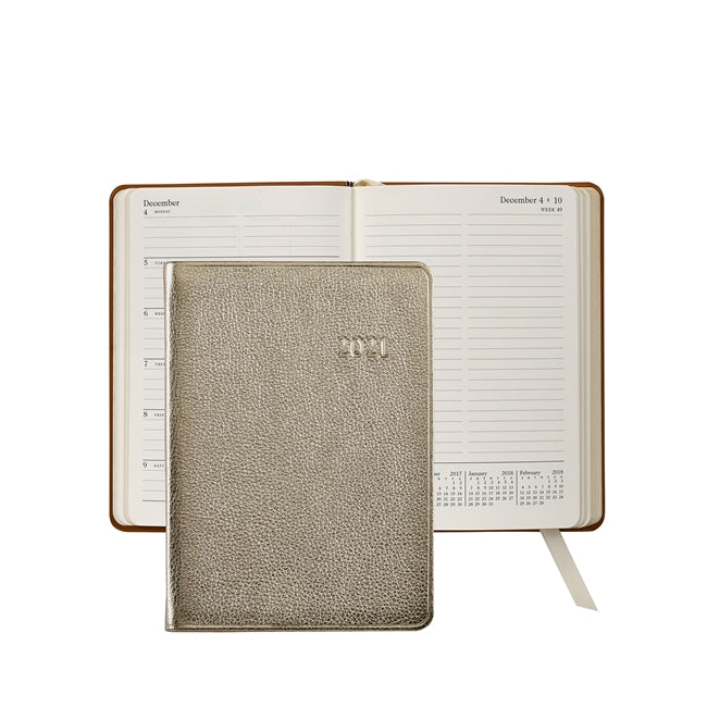 Graphic Image 2021 Weekly Journal, White Gold Leather