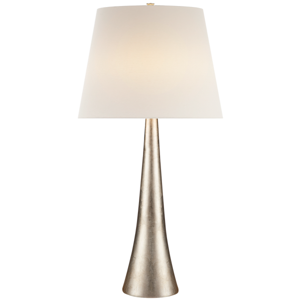 Dover Table Lamp in Burnished Silver Leaf with Linen Shade