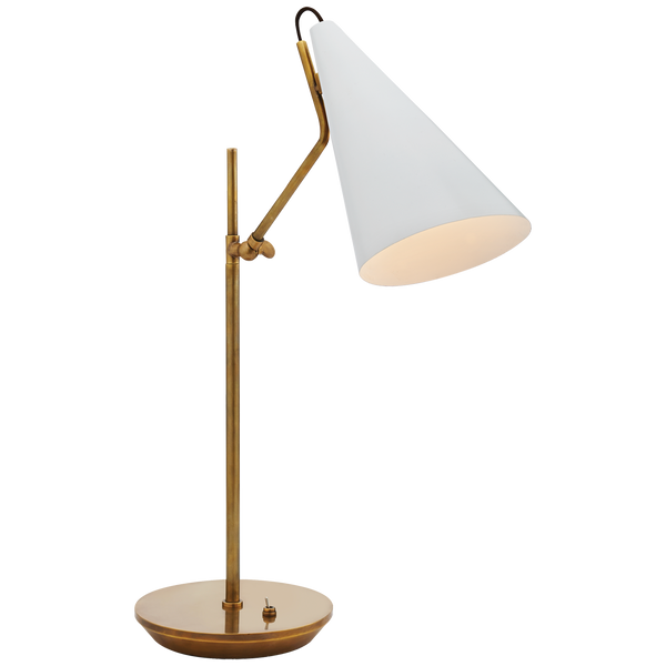 Clemente Table Lamp in Hand Rubbed Antique Brass and White