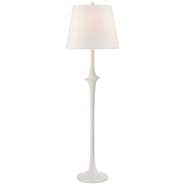 Bates Large Sculpted Floor Lamp in Matte White with Linen Shade