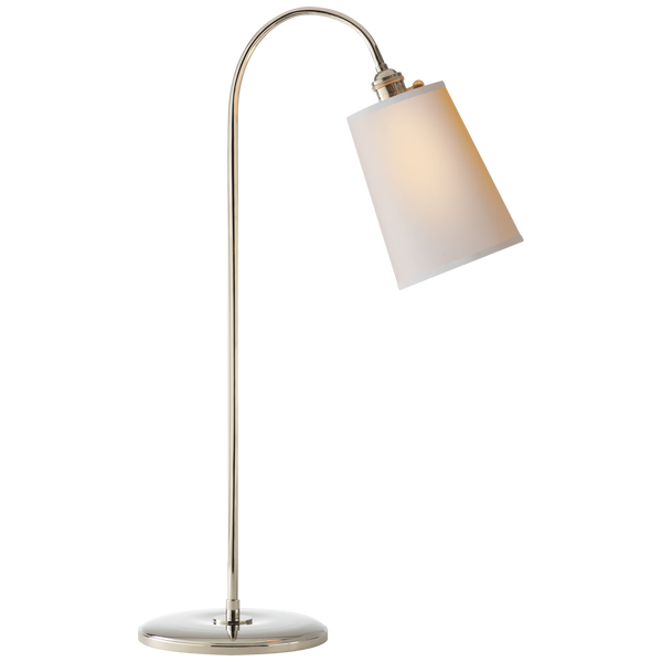 Polished Nickel Goose Neck Table Lamp with Natural Paper Shade