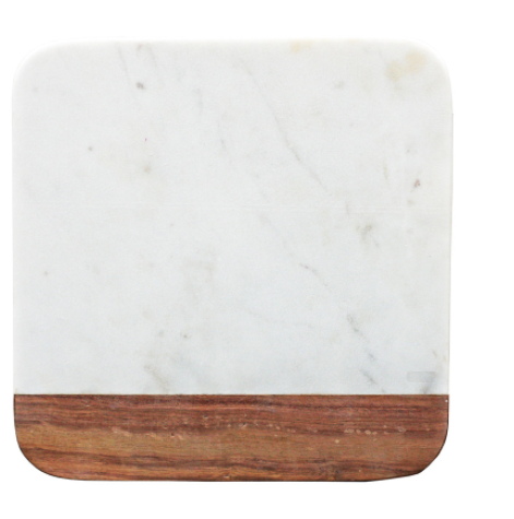 Square Marble and Wood Cheese Board, 10 X 10