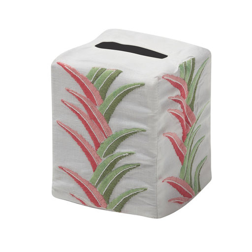 Aloha Tissue Box Cover, Pink & Green