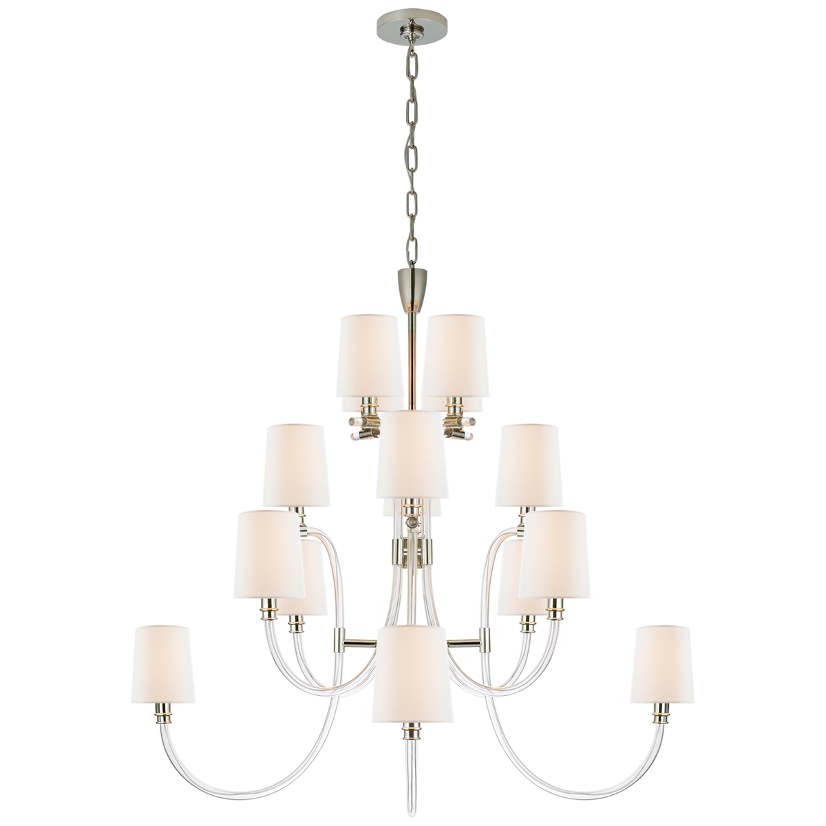 Clarice Large Chandelier, Crystal/Polished Nickel
