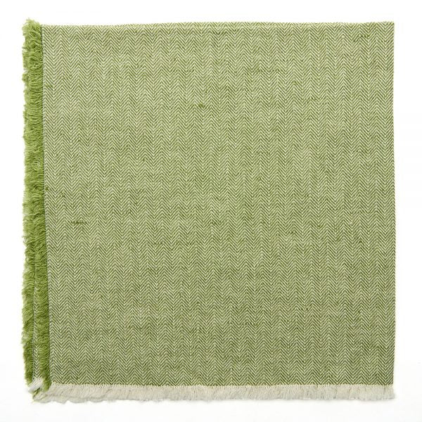 deborah rhodes herringbone fringe napkin set of 4, grass