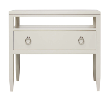 Bedside Table in White Cerused Oak with Nickel Hardware