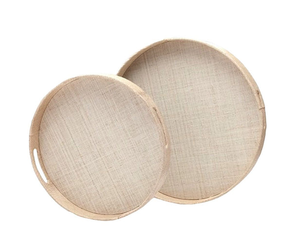 Faye Round Tray in Natural Buntal, Large