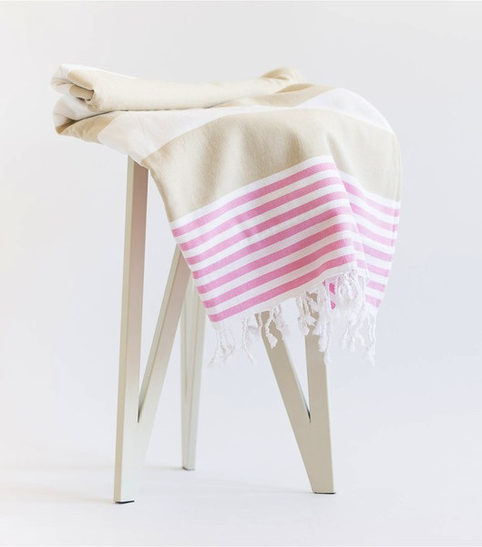 Turkish-T Terry-Lined Towel With Zipper Pocket Pink