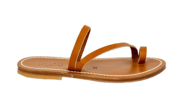K Jacques Actium Toe Loop Leather Sandal, Naturel