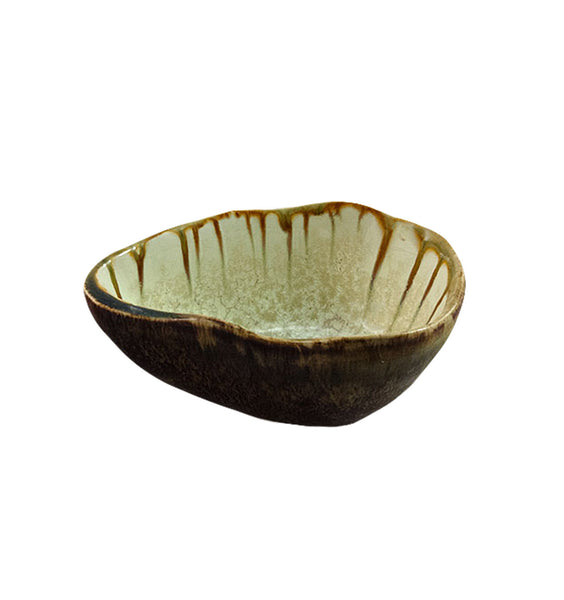 Footed Sauce Bowl in Mint and Tortoise